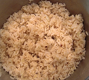Perfectly cooked brown rice.
