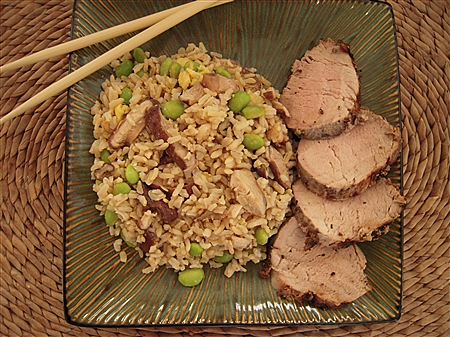 Shitake Fried Rice and Grilled Pork Tenderloin