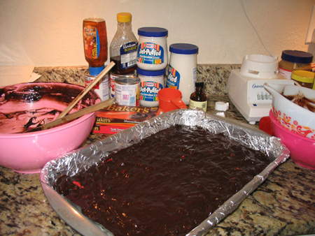 Outrageious mess for outrageous brownies!