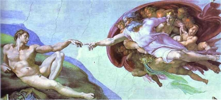 Michelangelo. The Creation of Adam. 1508 - 1512. Fresco. The Sistine Chapel.