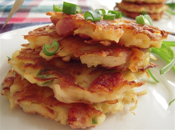 closeup-ham-and-potato-pancakes