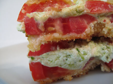 Fried Tomato Sandwich with Pesto and Goat Cheese