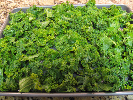 Kale Chips Pan Before Baking