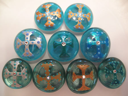 Glass Marble Magnets Done Blue