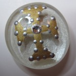 Cross Painted Glass Marble Magnet