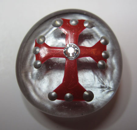 Glass Marble Magnet Red Cross