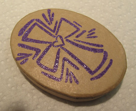 Glass Marble Purple Cross Embossed