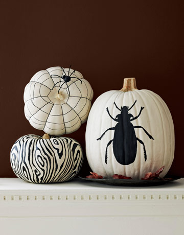 Graphic Black and White Painted Pumpkins