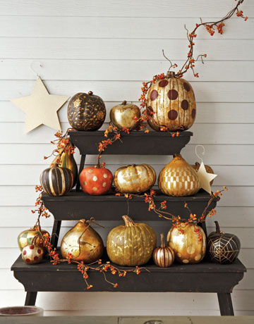 Gold and Silver Gilded Pumpkins