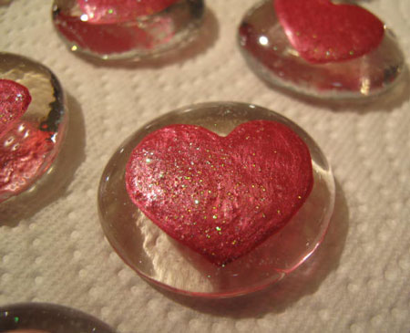 Heart Painted Glass Marble Magnet 2c
