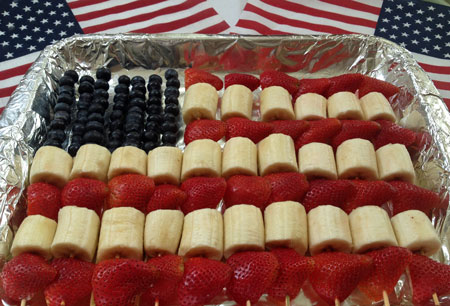 Patriotic Dessert: Red, White, & Blue Fruit Flag